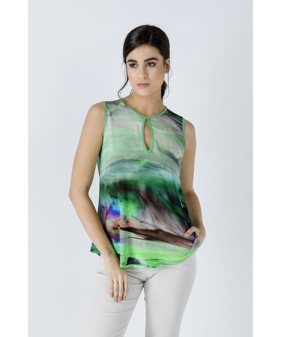 Image for Green Keyhole Detail Print Top