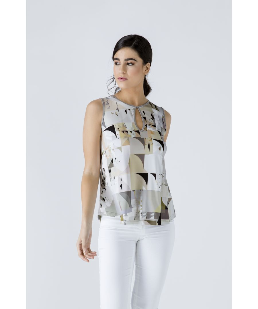 Image for Taupe Keyhole Detail Print Top