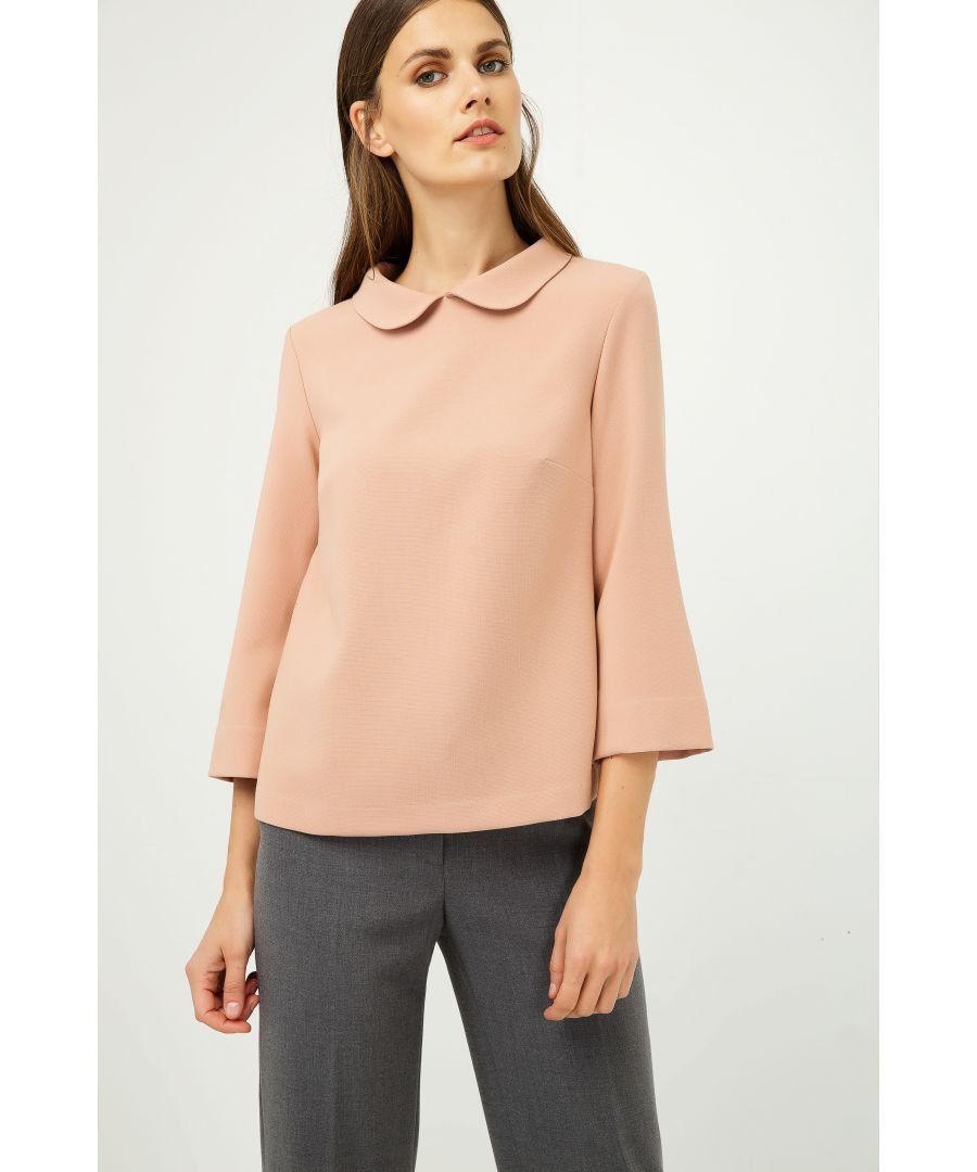Image for Bell Sleeve Peach Top with Peter Pan Collar