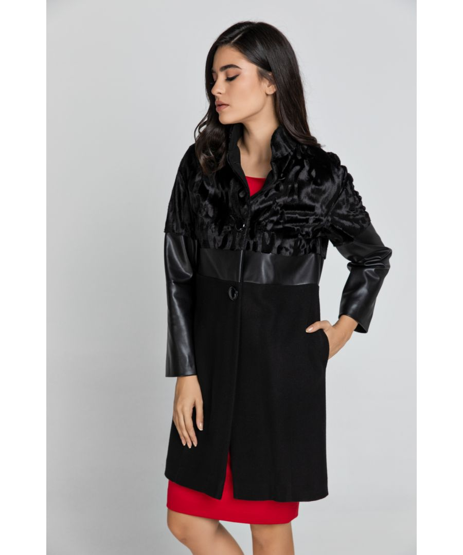 Image for Black Three Fabric Coat Conquista Fashion