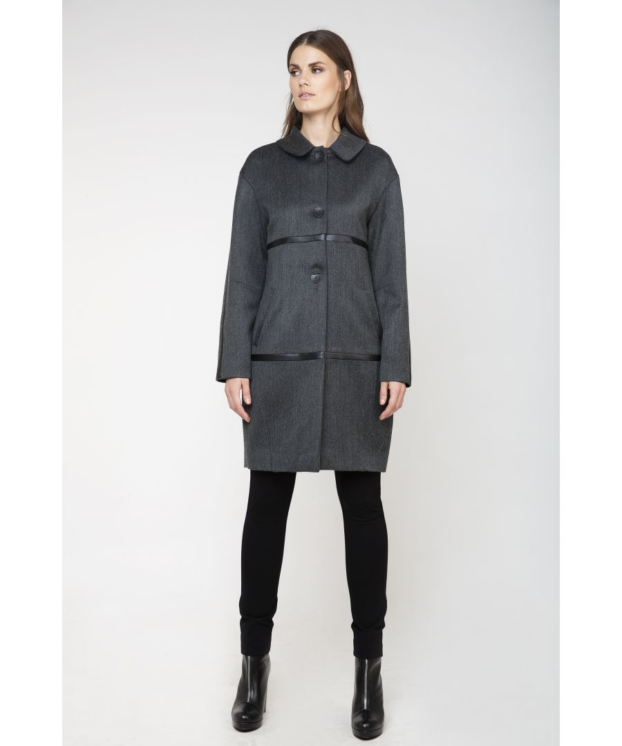 Image for Coat with Leather Look Detail