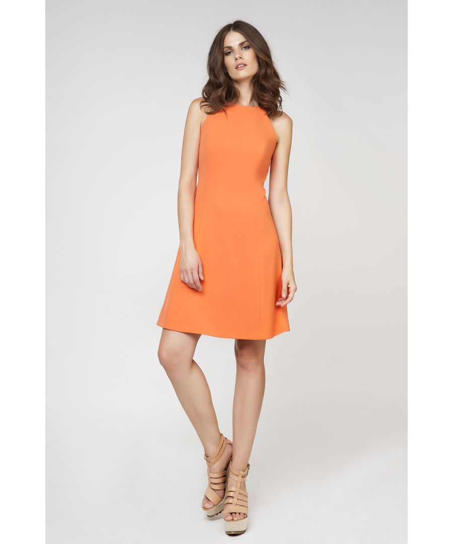 Image for A Line Sleeveless Orange  Dress