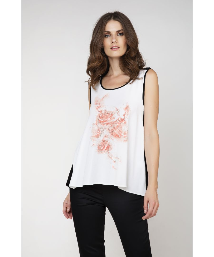 Image for Sleeveless Print Detail Ecru Top