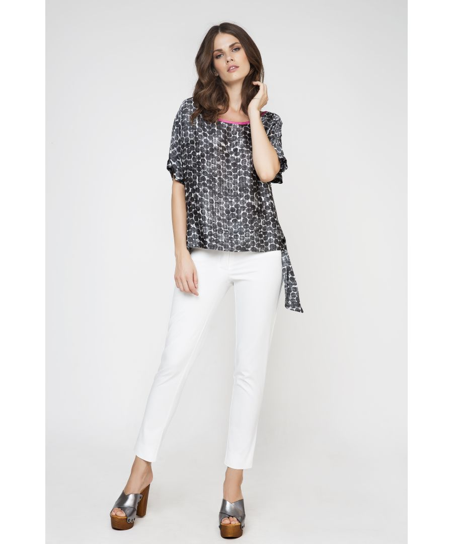 Image for Tie Detail Print Top