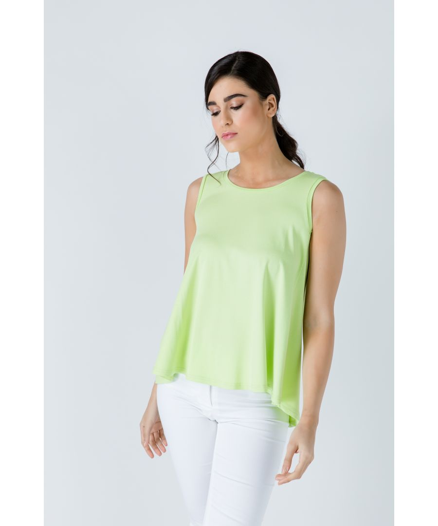 Image for Green Sleeveless Top with Rounded Hemline