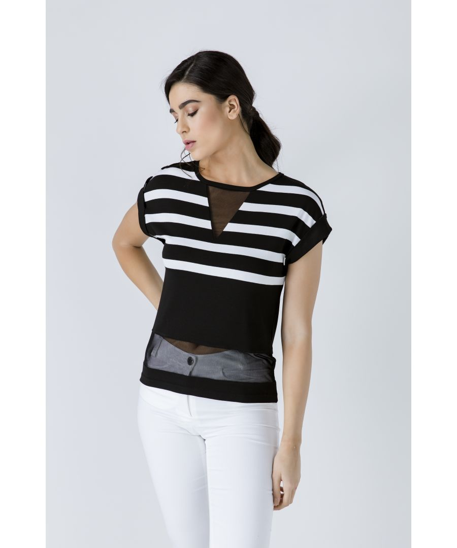 Image for Striped Top with Sheer Detail