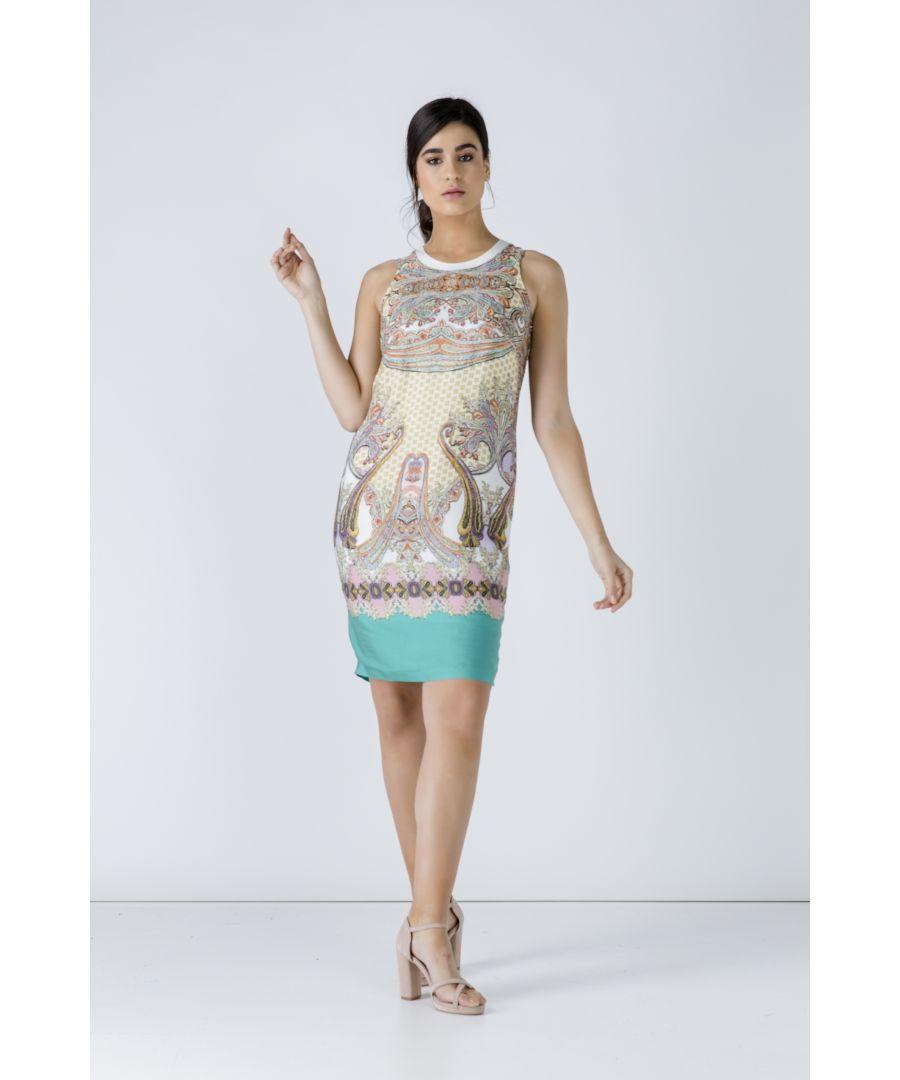 Image for Turquoise Paisley Sleeveless Dress
