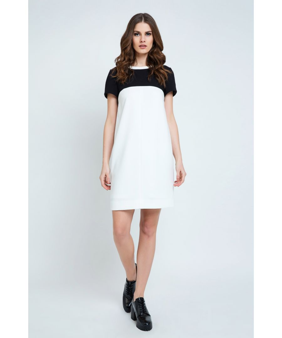 Image for Cream and Black Short Sleeve Dress.