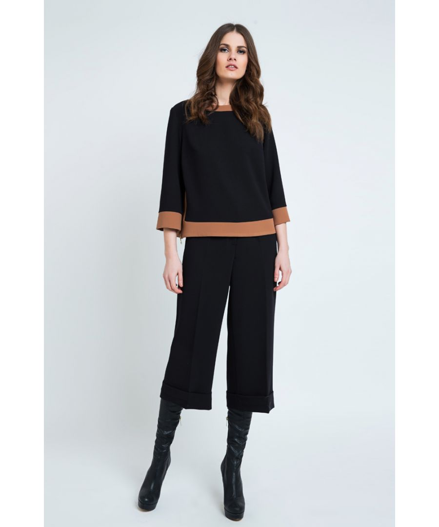 Image for Black Culottes with Turn Up