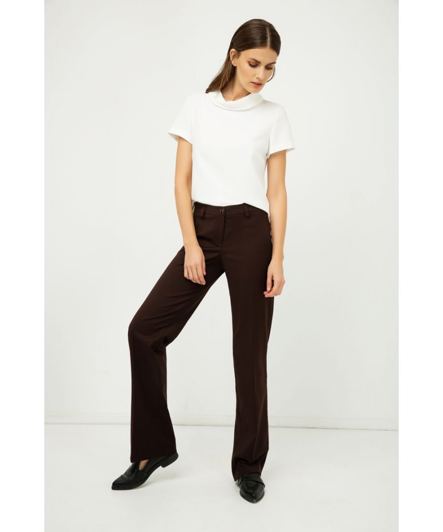 Image for Classic Straight Trousers Brown