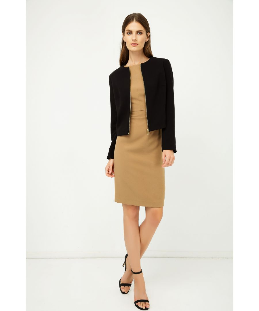 Image for Black Coat with Pleather Detail