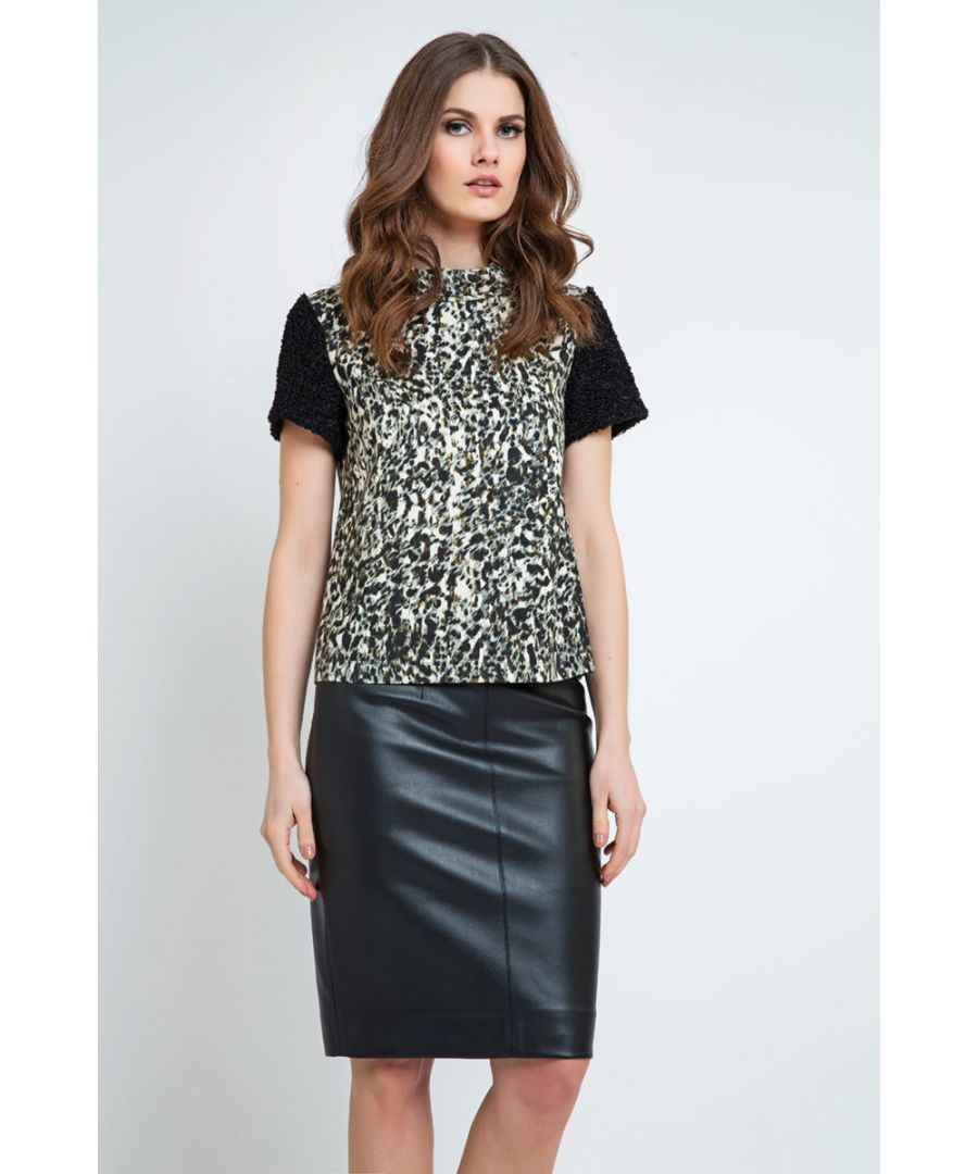 Image for Straight Dress with Animal Print Detail