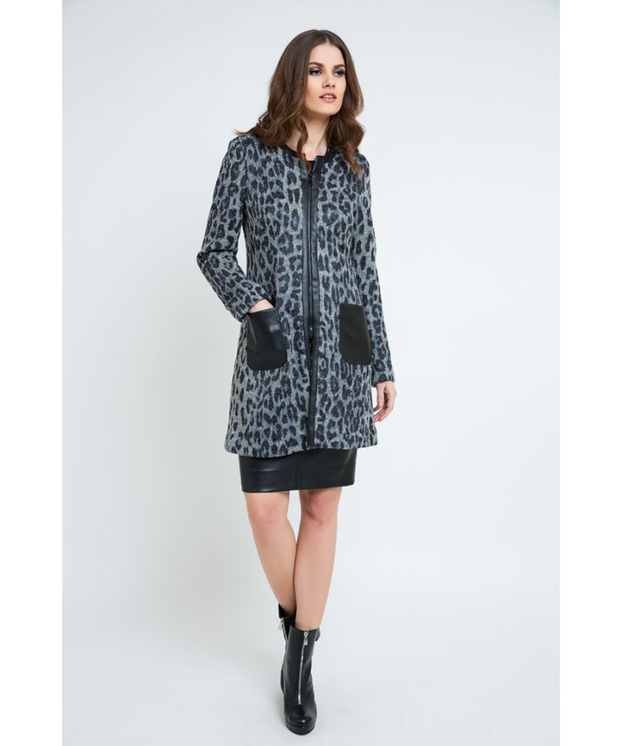 Image for Animal Print Coat with Pleather Detail
