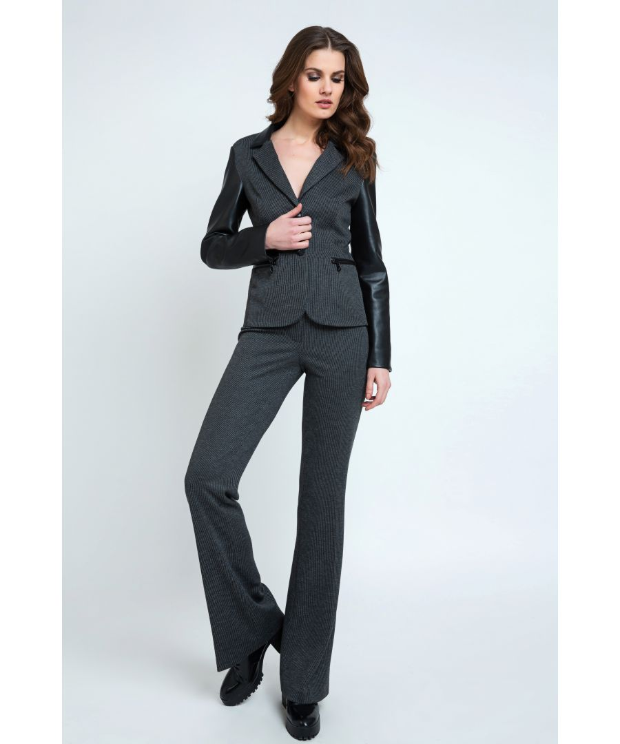 Image for Mid Rise Straight Striped Trousers