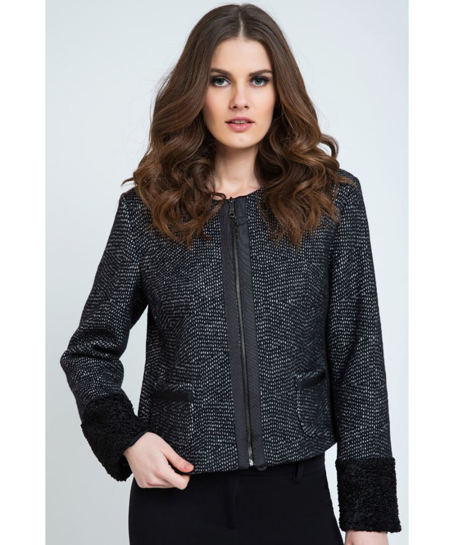 Image for Zip Jacket with Cuff and Hem Detail