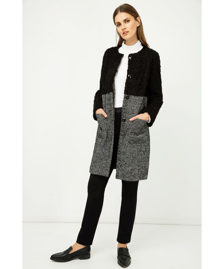Image for Straight Black and White Coat with Astrakhan