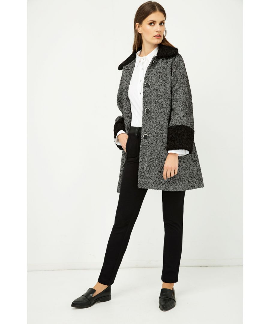 Image for Black and White Astrakhan Detail Coat