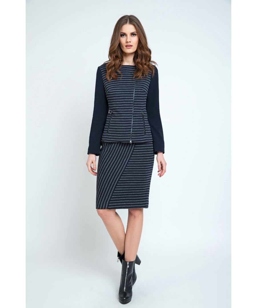 Image for Off-Centre Closure Striped Zip Jacket