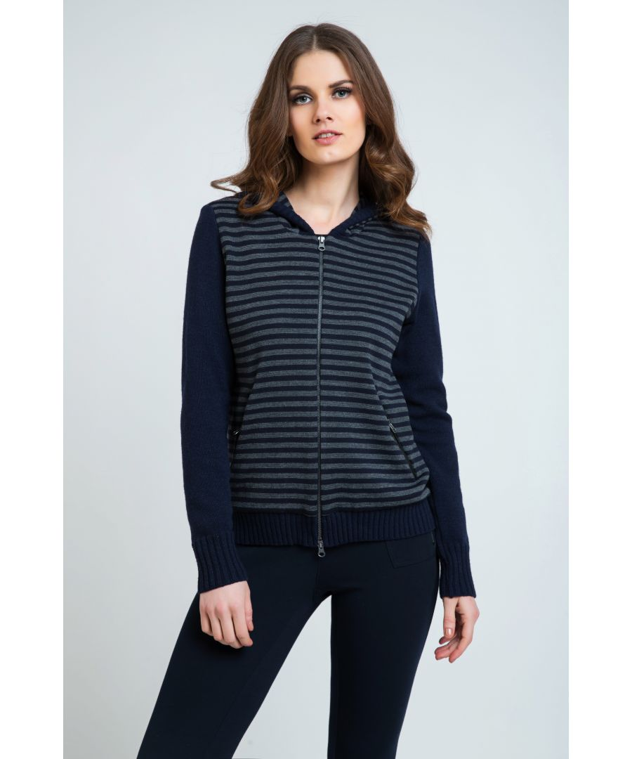 Image for Striped Cardigan with Hood
