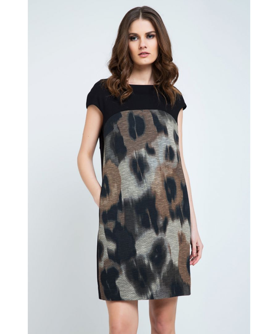 Image for Abstract Print Sack Dress with Pockets