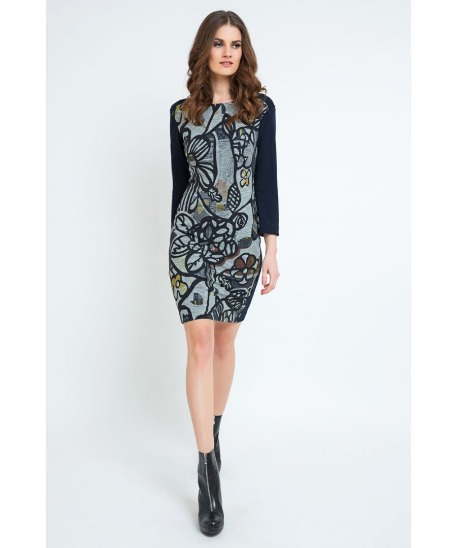 Image for Floral Straight Dress with Solid Colour Sleeves
