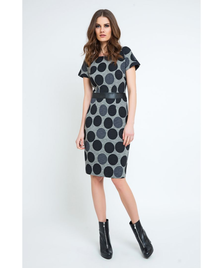 Image for Straight Polka Dot Dress with Pleather Waistband