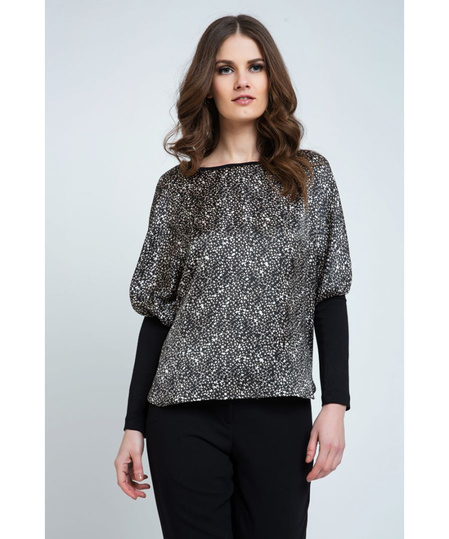 Image for Sleeve Detail Print Top