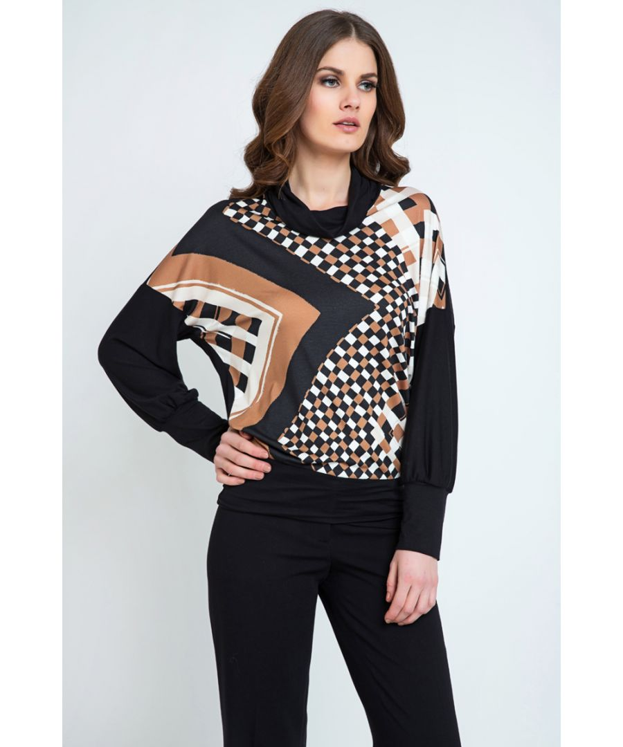Image for Geometric Print Batwing Top