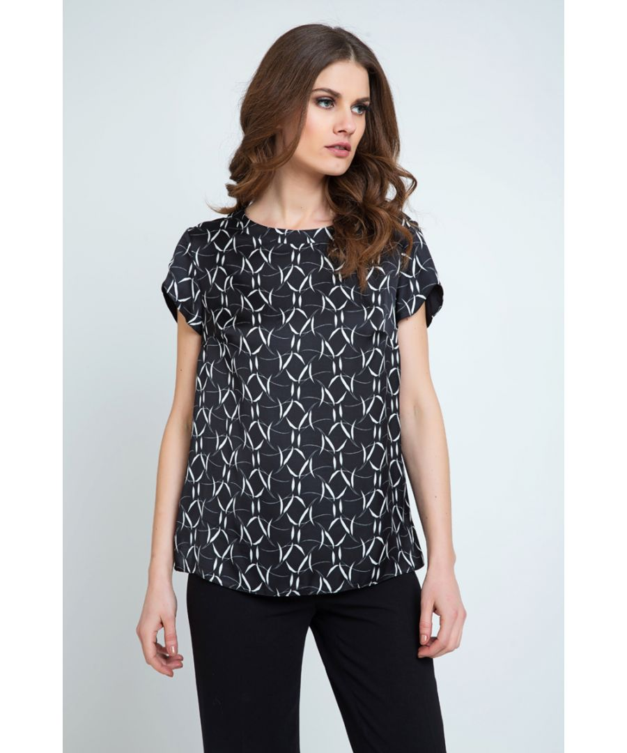 Image for Short Sleeve Black and White Print Top