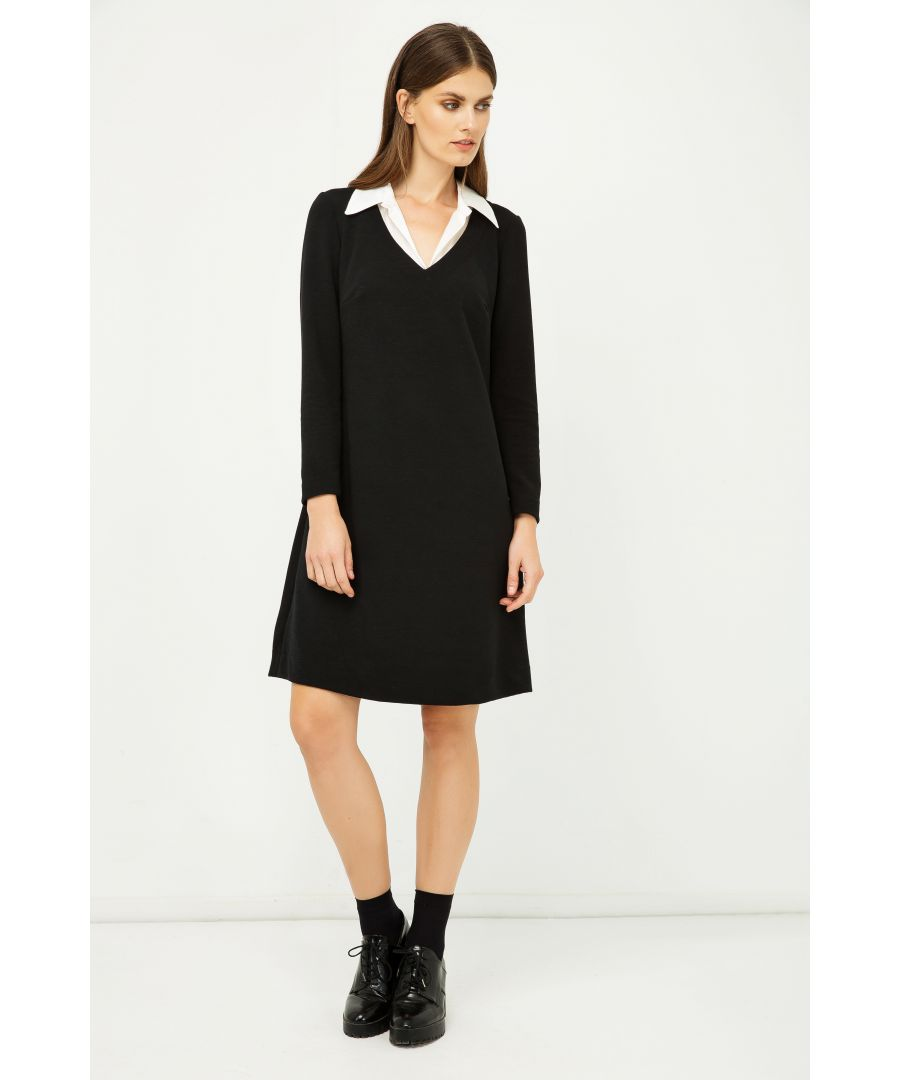 Image for Shirt Collar Detail Black Striped Dress