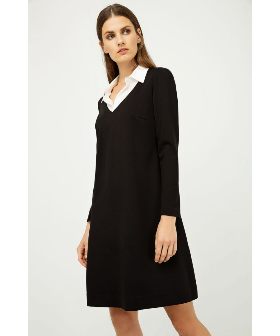 Image for Dress with Shirt Style Collar Black