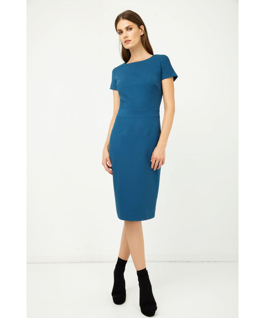 Image for Petrol Fitted Cap Sleeve Dress