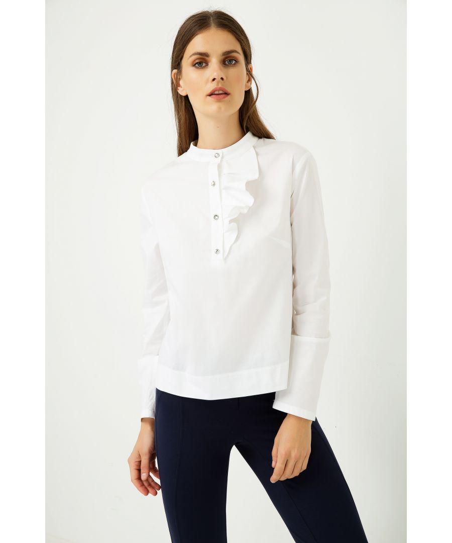 Image for Long Sleeve White Shirt with Frill Detail