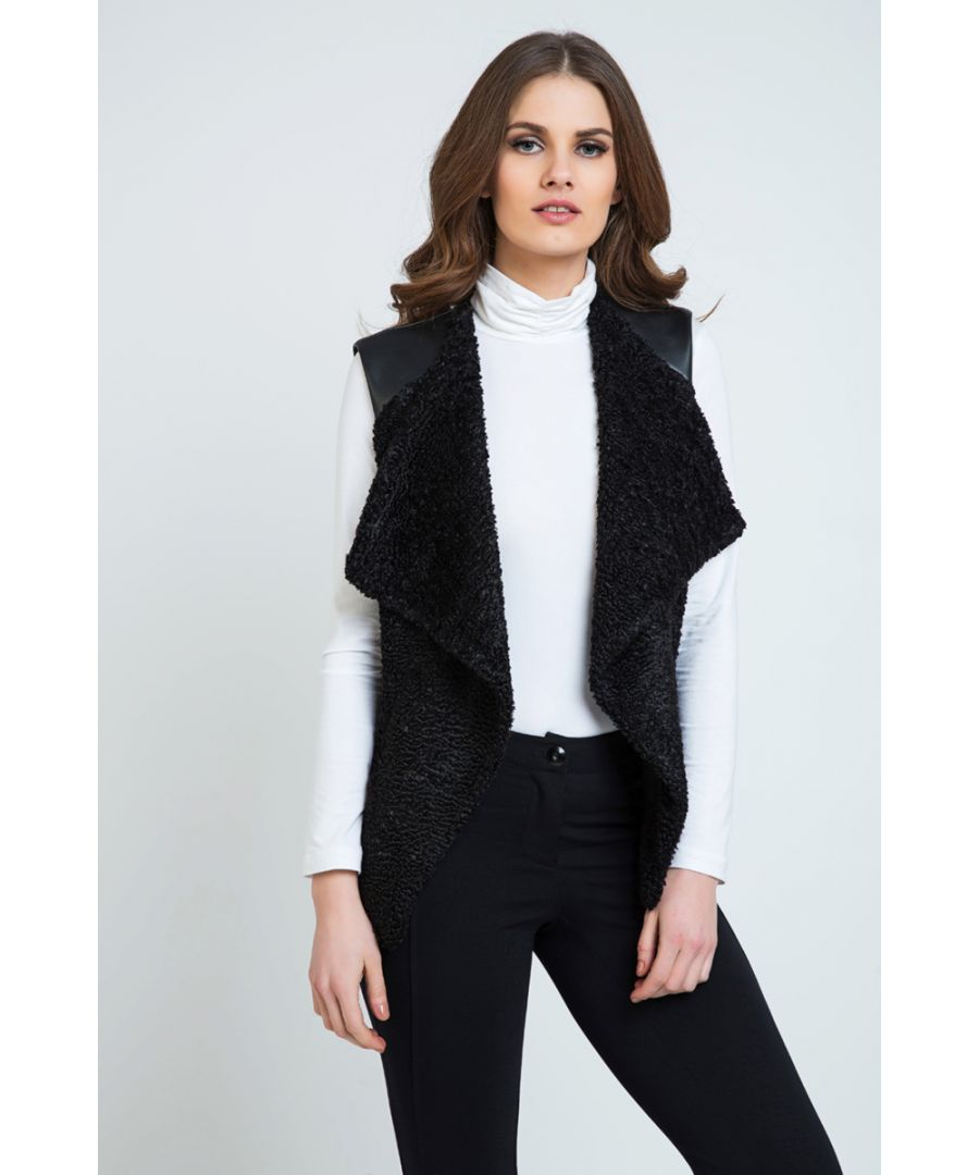 Image for Astrakhan Winter Vest with Pleather Detail