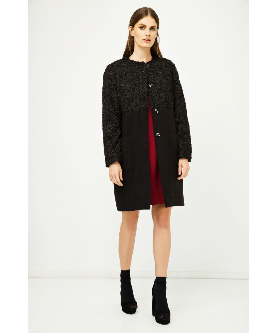 Image for Straight Black Coat with Astrakhan