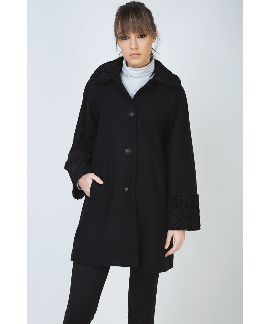 Image for Black Astrakhan Detail Coat