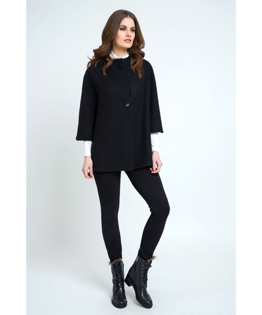 Image for Black Poncho Style Coat