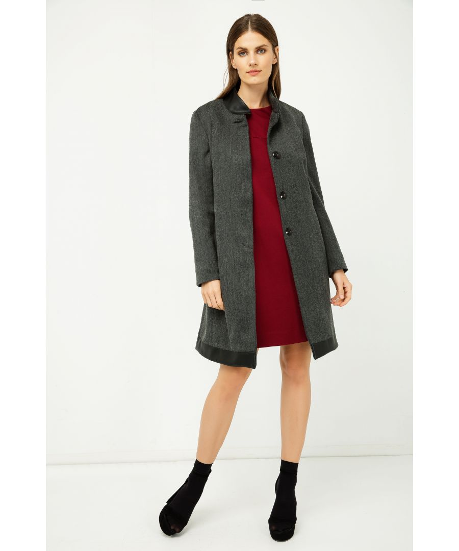 Image for Dark Grey Coat with Pleather Detail