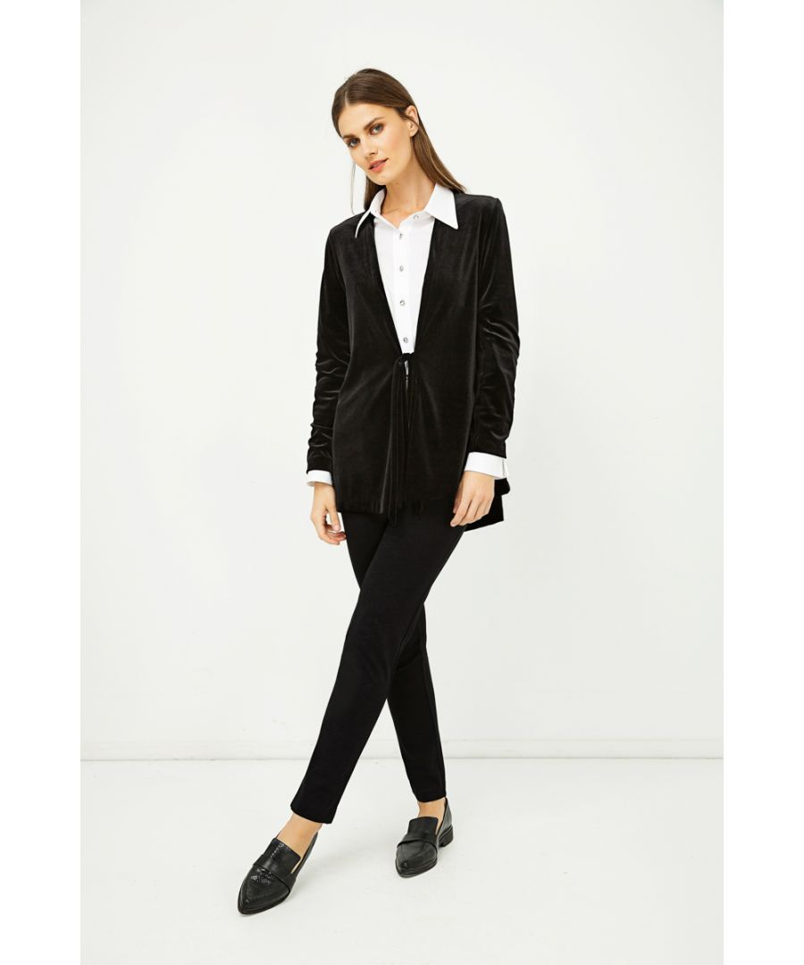 Image for Velvet Cardigan with Ties in Black