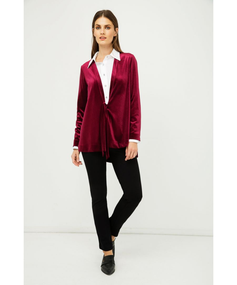 Image for Burgundy Velvet Cardigan with Ties