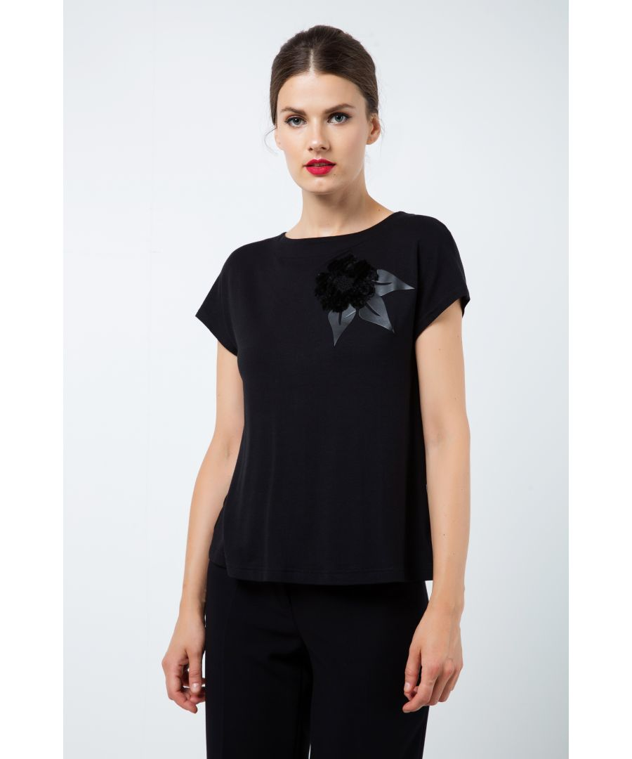 Image for Black Appliqué Detail Top