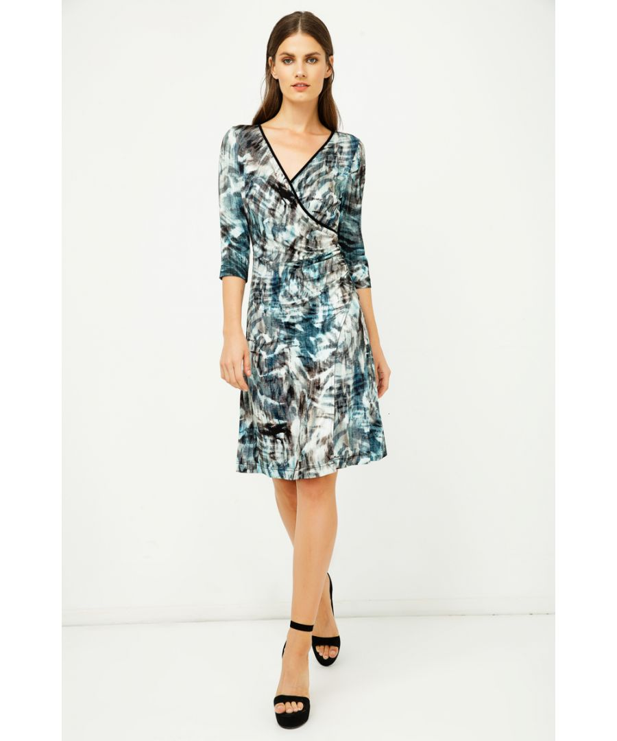 Image for Print Jersey Faux Wrap Dress in Dark Navy