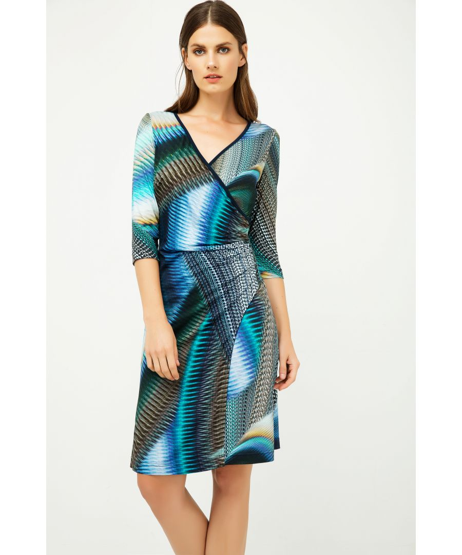 Image for Print Jersey Faux Wrap Dress in Petrol