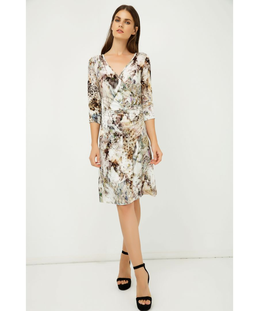 Image for Print Jersey Faux Wrap Dress in Beige