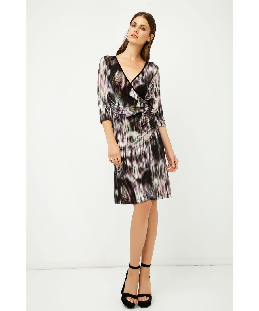 Image for Print Jersey Faux Wrap Dress