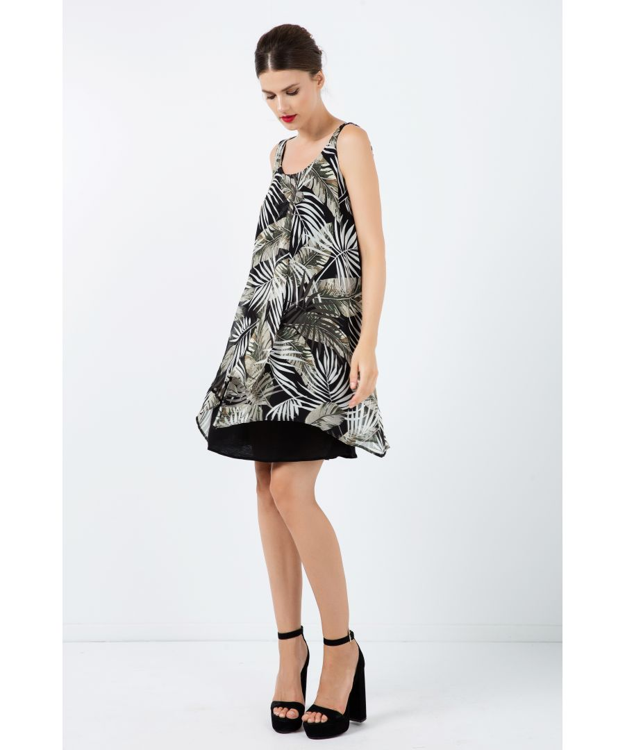 Image for Sleeveless Print Chiffon Dress with Layers