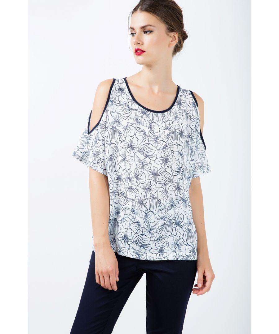 Image for Floral Cold Shoulder Top