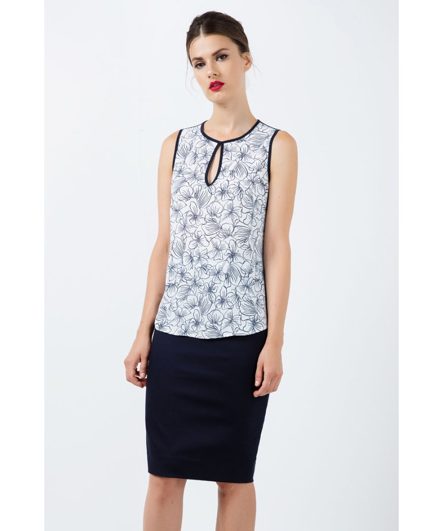 Image for Sleeveless Floral Keyhole Top