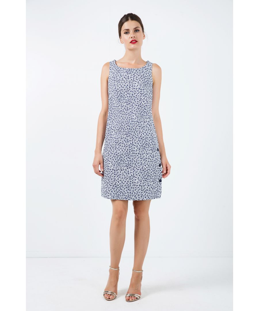 Image for Sleeveless Floral A Line Dress with Button Detail