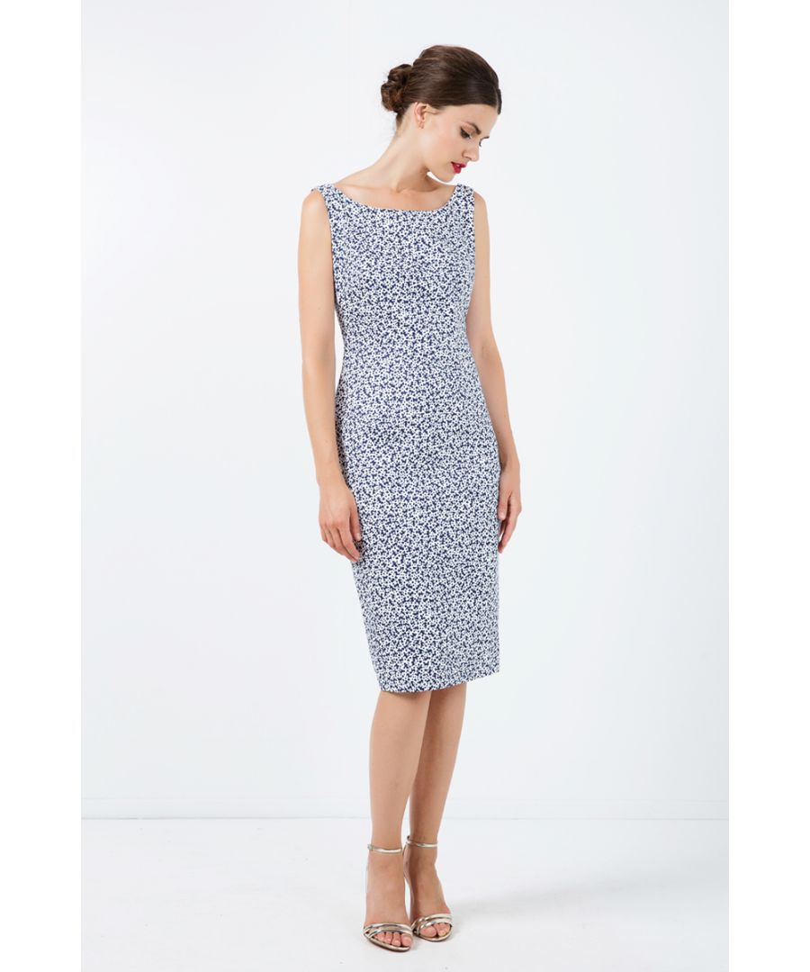 Image for Sleeveless Floral Straight Dress with Zip Detail